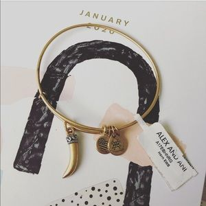 Alex & Ani Horn Rafaelian Gold Charm Bracelet NWT
